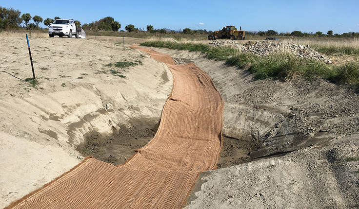 Photo: Coconut mat follows a series of pools and swales which provides fish passage from the estuary to beyond the new wetland outlet weir.