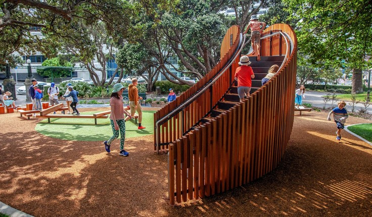 As well as encouraging families to visit Parliament, the play space is designed to cater for the increasing number of inner city apartment dwellers. Photo credit: Julian Butler