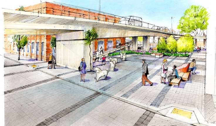 Artist's impression of proposed changes to Jetty Street, looking east from Vogel Street.