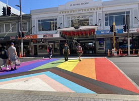 The rainbow crossing on Auckland's Karangahape Road.