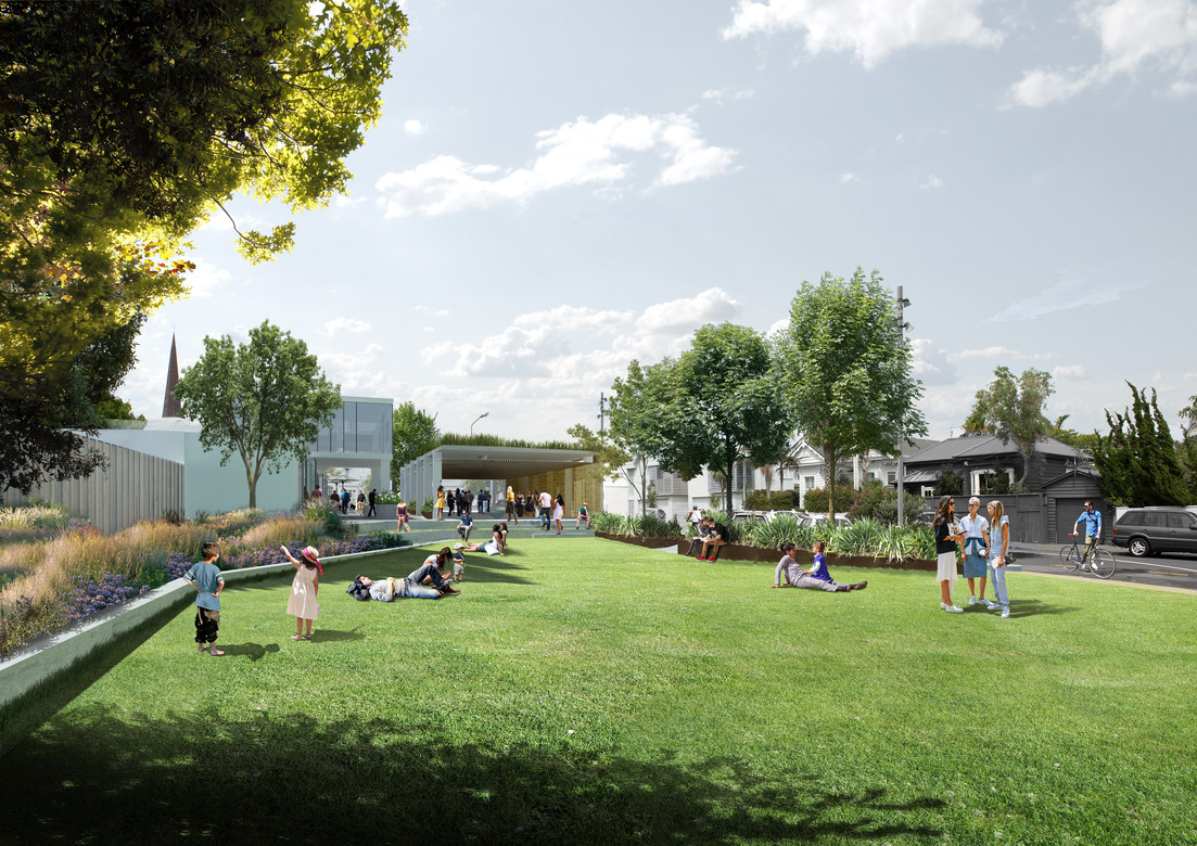 Looking east across the site from the park/lawn space towards Ponsonby Road_