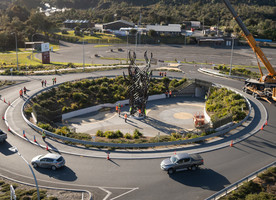 The sculpture sits in the middle of the roundabout. Photo credit: Stephen Parker
