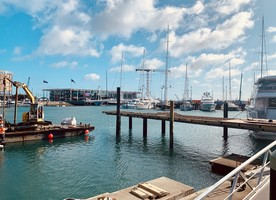 "Construction work is going well at ""The Lookout"" in Auckland's Viaduct Harbour."