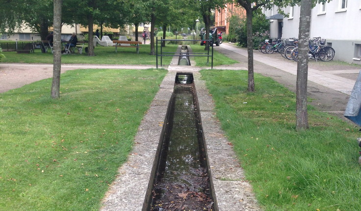 Water channel incorporated into a street berm in the neighbourhood of Augustenborg in Malmo, Sweden.