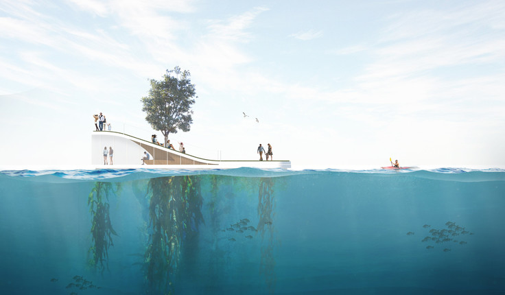 An island could serve ecological functions with a sub-surface marine ecology that enhances water quality underneath.