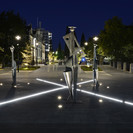 Union St and Paul Dibble – The design has a strong formal character, opening up long vistas and creating the opportunity for artwork to be installed at key intersections.  Paul Dibble was commissioned to create a sculpture for the intersection of Castle and Union Walks.