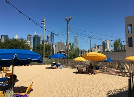 Brooklyn Bridge Park summer time fun at the pop up beach.