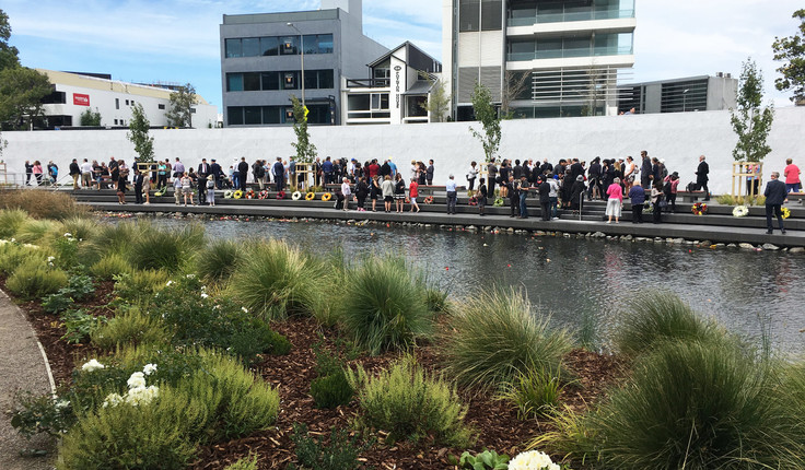 Oi Manawa - the Canterbury Earthquake National Memorial rests on the Avon rivers edge as a destination of reflection.