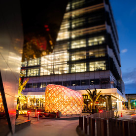 The Pod and timber road-edge screen. Image Credit: Nathan Young, Wraight + Associates