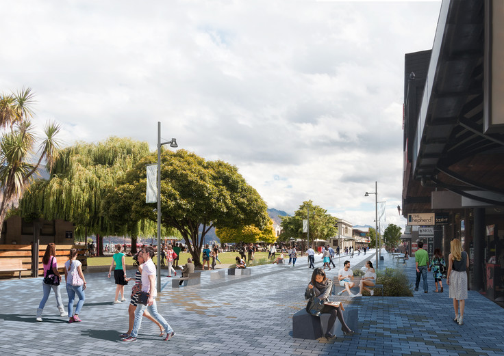 Looking south along Beach Street showing