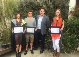 NZILA President Shannon Bray with the 3 Lincoln University award winners for the 2016 year