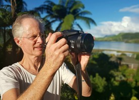 Photo: Hugh Lusk trying out his new camera
