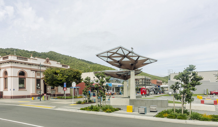 The sculptural Town Square shelters reference significant Ngāti Waewae sites within the wider Grey District. Image courtesy of Firth.