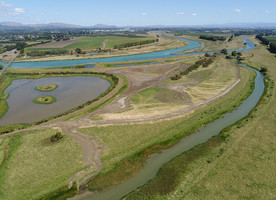 Photo: Drone photo of new wetland area looking south-west and upstream to the Ngaruroro and Tūtaekurī rivers with the Horseshoe Wetland to the left.