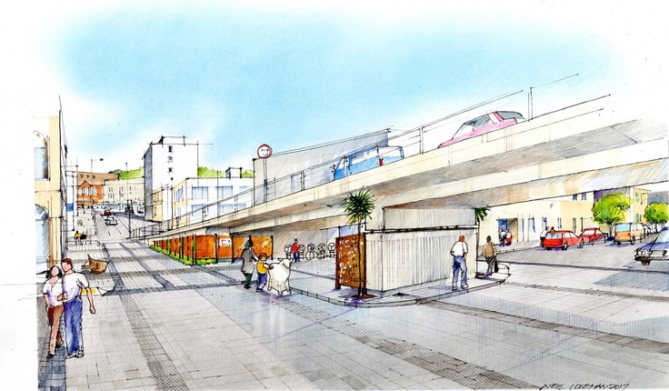 Artist's impression of proposed changes to Jetty Street, looking west from Vogel Street.
