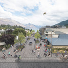 Looking along Church Street towards Lake Wakatipu showing proposed streetscape enhancements, improved lakefront connections and open space upgrades around St Peters Church_