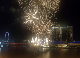 Fireworks over Marina Bay in Singapore - the venue for the 2018 IFLA World Congress.