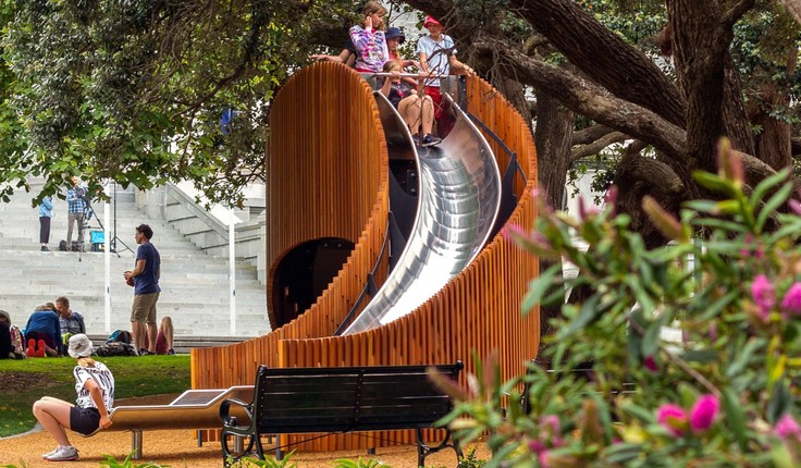 The slide was manufactured in Palmerston North and uses sustainable forest beech. Photo credit: Studio Pacific Architecture