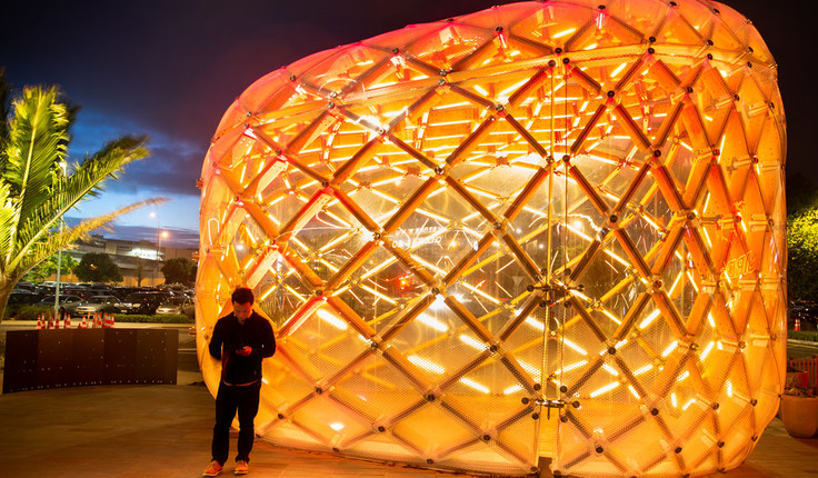The Pod looks especially stunning at night. Image credit: Nathan Young / Wraight + Associates Ltd